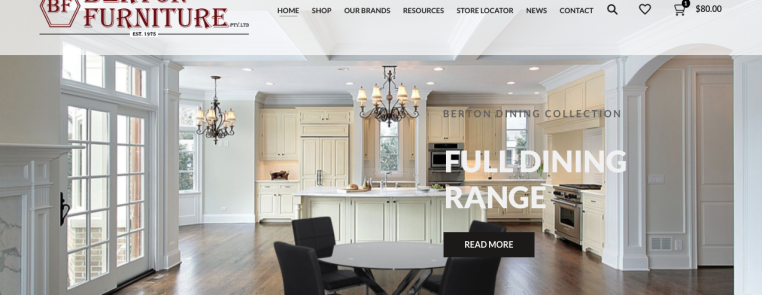 Retail furniture Website Design Homepage